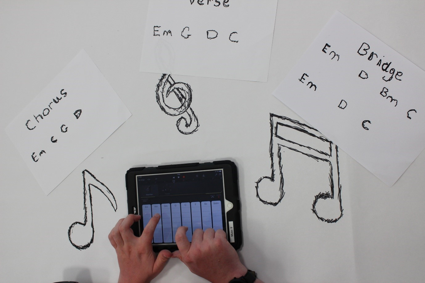 Two hands playing a small keyboard with musical notes surrounding the keyboard