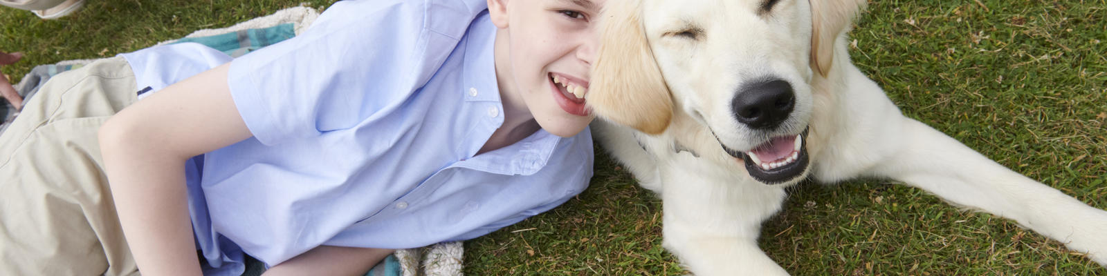 Inscape and therapy dog smiling