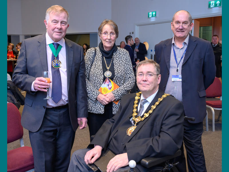 (left to right) Cllr John Wright and Mrs Christine Wright – Deputy Mayor and Mayoress of Stockport, Cllr Charlie McIntyre, the Ceremonial Mayor of Salford, Mark Lee, Chief Executive at the Together Trust