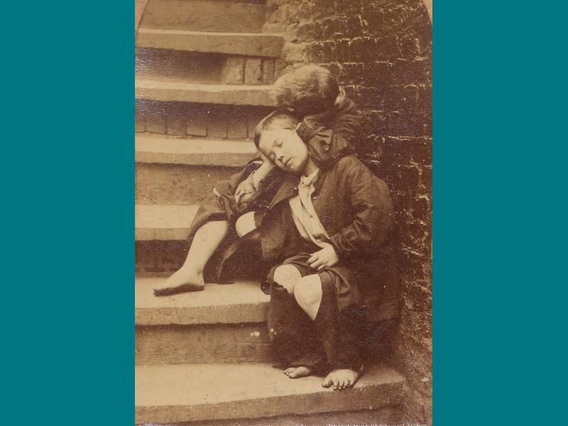 Homeless boy in Victorian Manchester