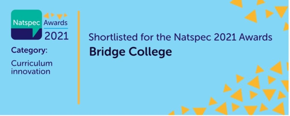 A blue banner with the Natspec logo reads shortlisted for the Natspec 2021 awards