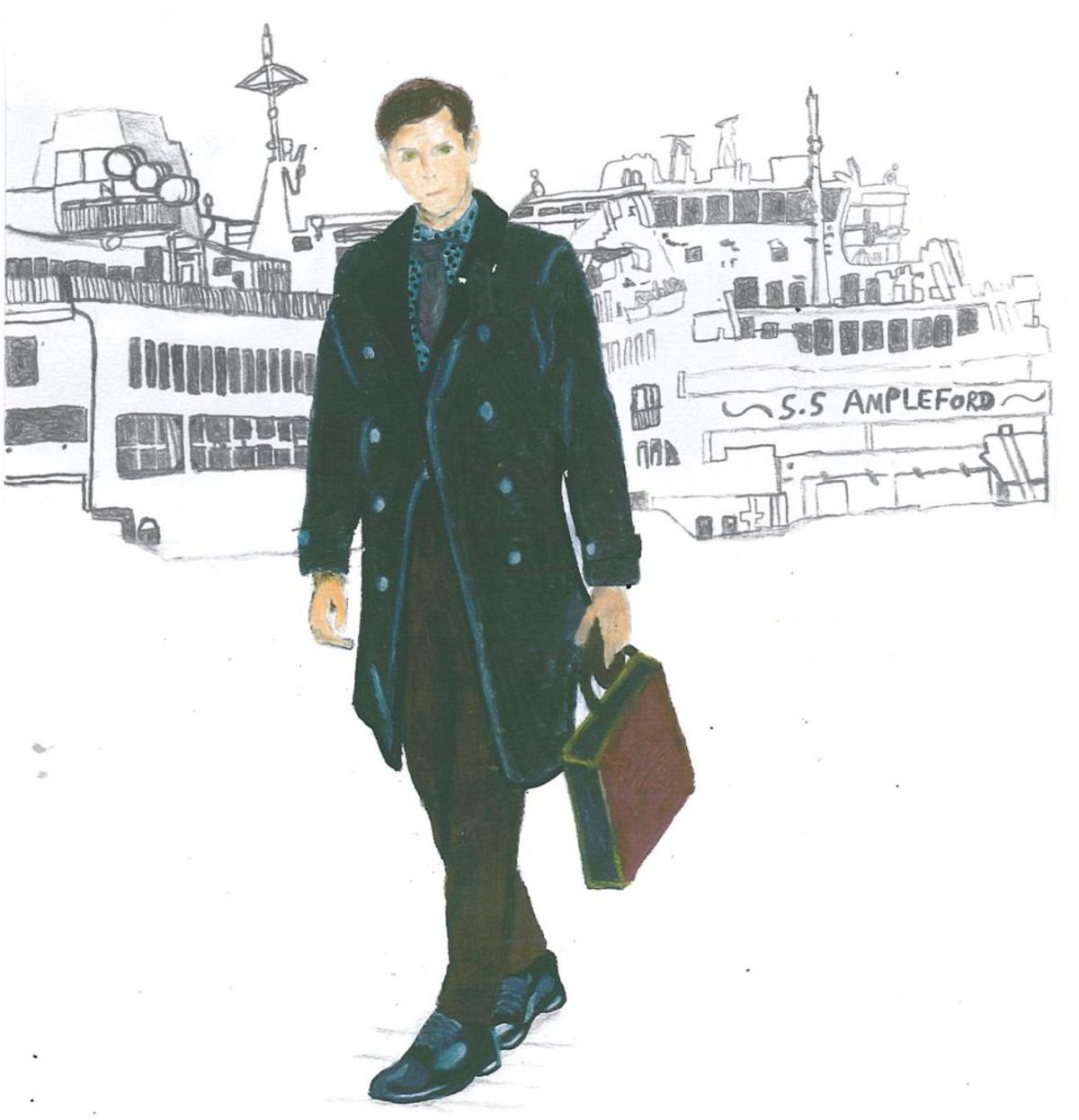 A coloured drawing of a man carrying a briefcase with a city skyline behind him