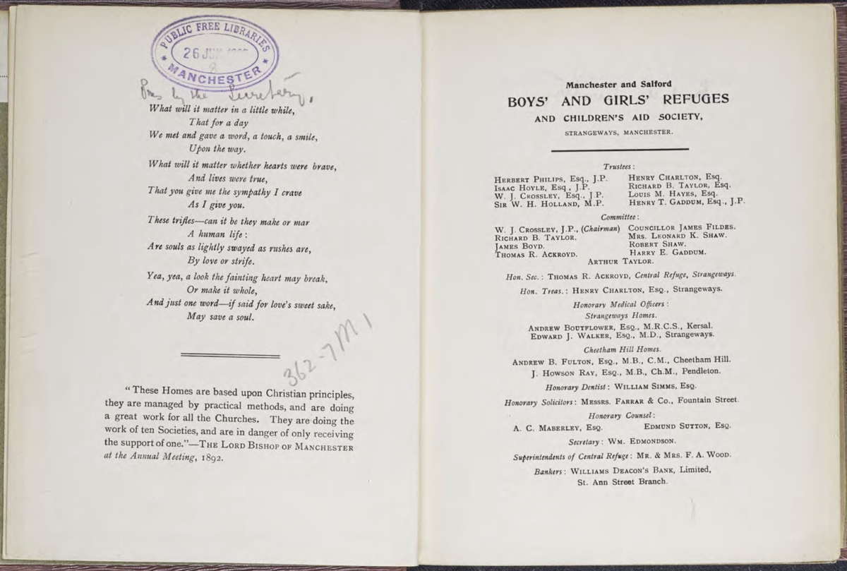 A scanned copy of Together Trust's annual report from 1905