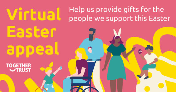 A group of illustrated people doing an easter egg hunt with the text 'Virtual Easter appeal'