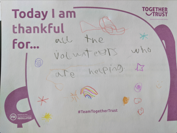 A poster that reads 'I am thankful for all the volunteers who are helping'