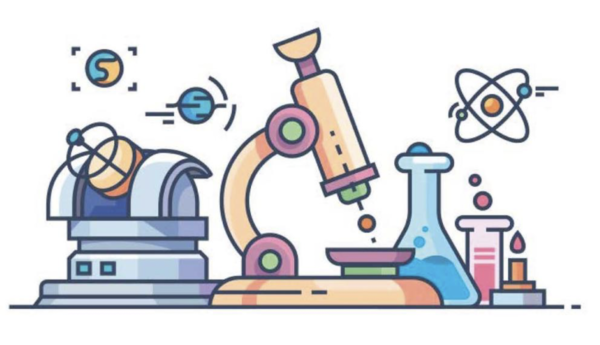 a drawing of science equipment