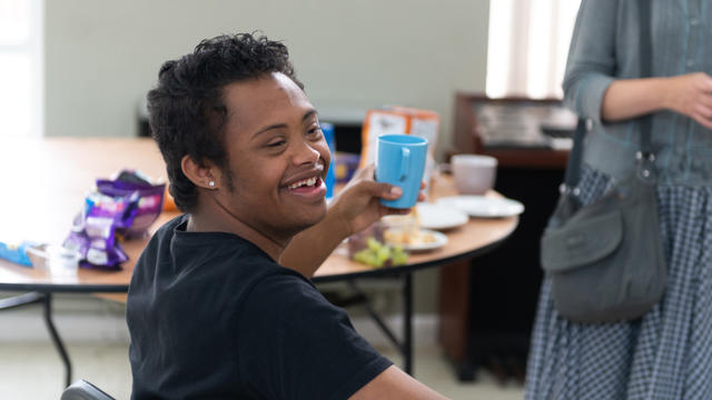 A young man at the coffee morning
