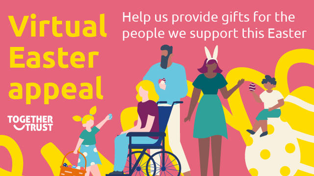 """A branded banner image with the text """"Virtual Easter appeal"""" and an illustration of people easter egg hunting"""