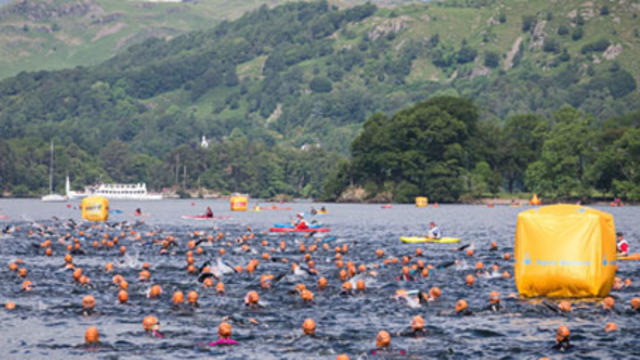 A group of swimmers in open water with a background of hillside trees