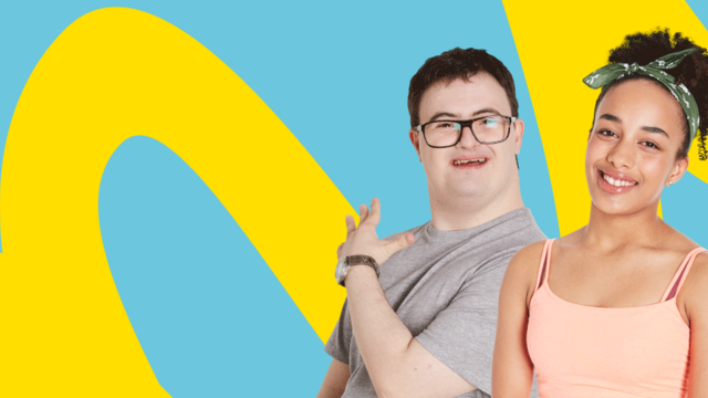 Photo of three children and young people on a colourful background