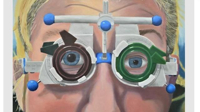 A painting of a person undergoing an eye test